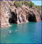 the caves - on the coast line of Norman Island in the British Virgin Islands